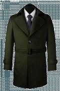 Grüner Mantel mit Gürtel-Ansicht Vorderseite