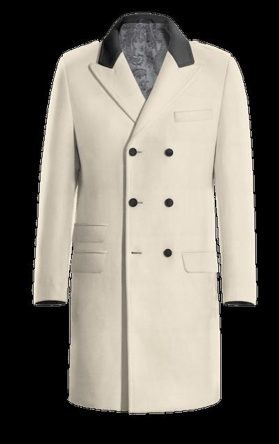 NEW Beige Langes Zweireihiger Mantel mit Steigende Revers 072f1d47a8