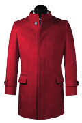 Red stand up collar Coat-View Front