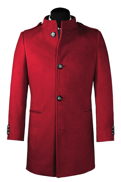 Red stand up collar Coat