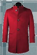 Manteau rouge avec col droit-Vue Avant