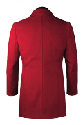 Red stand up collar Duffle coat-View Back