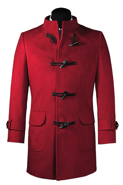 Red stand up collar Duffle coat