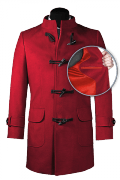 Red stand up collar Duffle coat-front_open