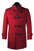 Red stand up collar Duffle coat-View Front