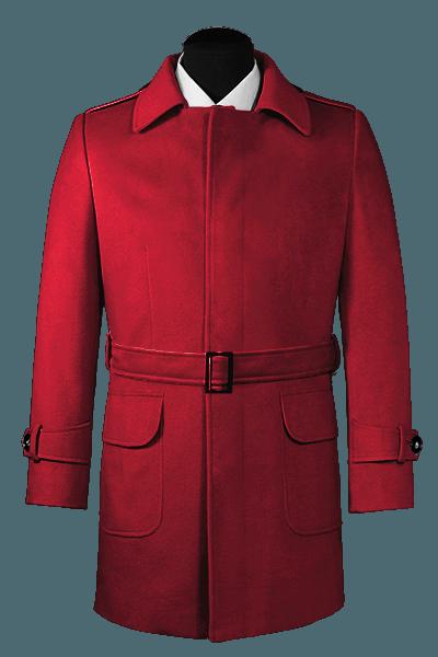 Manteau rouge avec ceinture