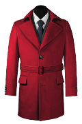 Red belted Coat-View Front