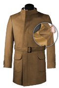Brown double breasted belted Coat-front_open