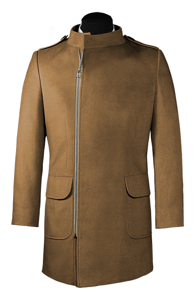 Cappotto doppiopetto a collo alto marrone