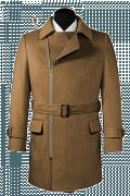 Manteau marron croisé avec ceinture-Vue Avant