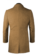 Beige double breasted stand up collar Wool Coat-View Back