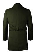 Green double breasted belted Coat-View Back