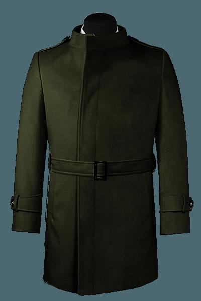 Manteau vert croisé avec ceinture
