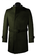 Green double breasted belted Coat-View Front