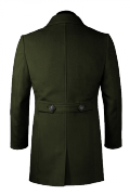 Green double breasted stand up collar Coat-View Back