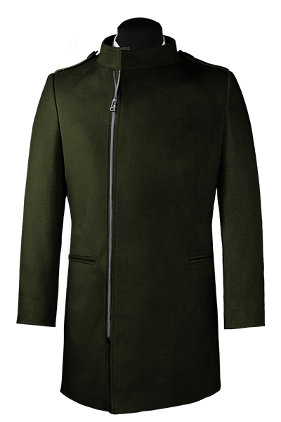 Green double breasted stand up collar Coat
