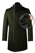 Green double breasted stand up collar Coat-front_open