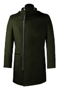 Green double breasted stand up collar Coat-View Front