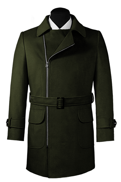 Green double breasted belted Coat