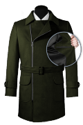Green double breasted belted Coat-front_open