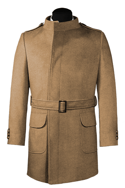 Brown double breasted belted Coat