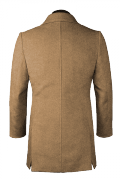 Brown double breasted stand up collar Coat-View Back