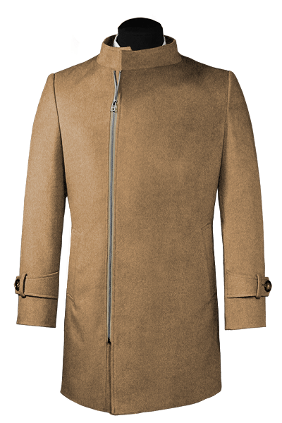 Brown double breasted stand up collar Coat