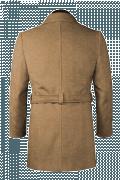 Brauner Zweireihiger Mantel mit Gürtel-Ansicht Rückseite