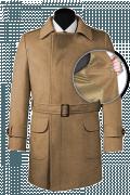 Brauner Zweireihiger Mantel mit Gürtel-front_open