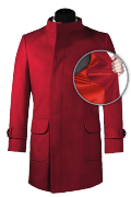 Red double breasted stand up collar Coat-front_open