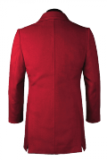 Red double breasted stand up collar Coat-View Back