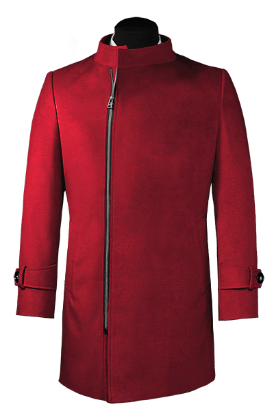 Red double breasted stand up collar Coat