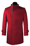 Red double breasted stand up collar Coat-View Front