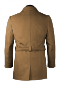 Brown belted Pea coat-View Back