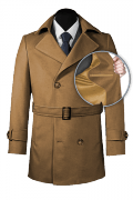 Brown belted Pea coat-front_open