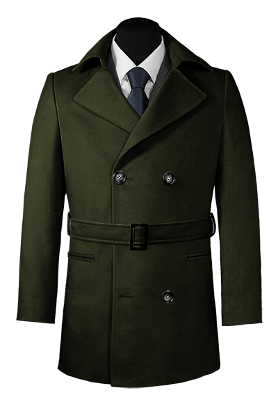 Green belted Pea coat