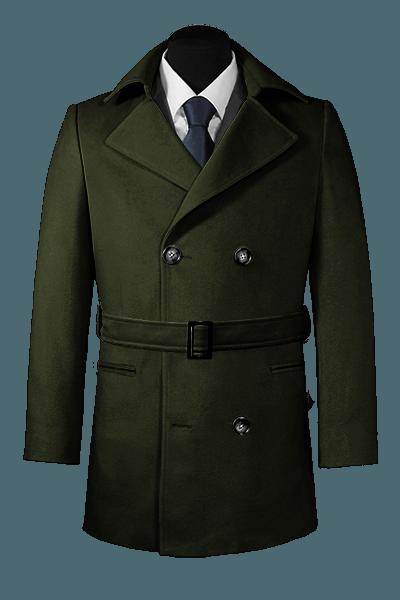 двубортное пальто-бушлат с поясом