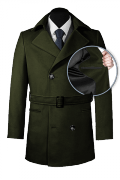 Green belted Pea coat-front_open