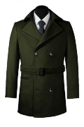 Green belted Pea coat-View Front