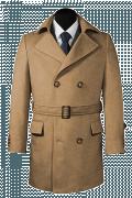 Brauner Zweireihiger Mantel mit Gürtel-Ansicht Vorderseite