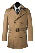 Brown belted Pea coat-View Front