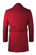 Red double breasted belted Coat-View Back