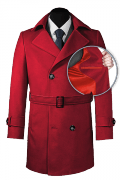 Red double breasted belted Coat-front_open