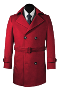 Red double breasted belted Coat-View Front