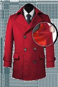Red Pea coat-front_open