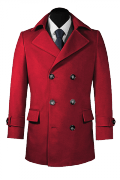 Red Pea coat-View Front