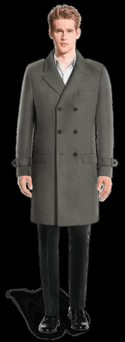 Cappotto Doppiopetto Lungo con toppe