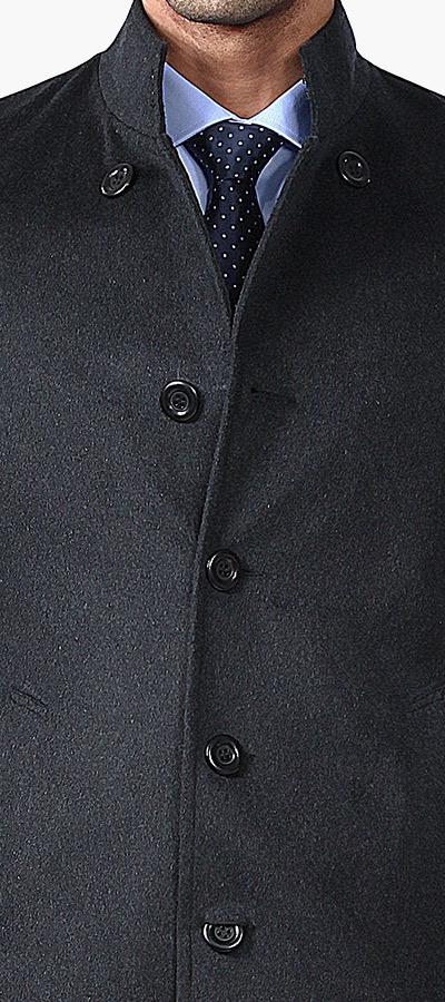 Black stand up collar Coat-1