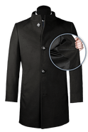 Black stand up collar Coat-front_open