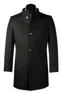 Black stand up collar Coat-View Front